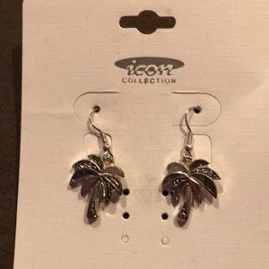 Silver color palm tree earrings